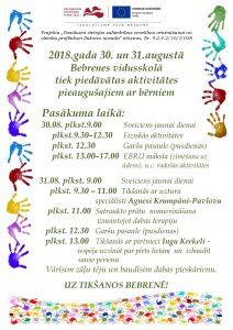 30. un 31.augustā Bebrenes vidusskolā  notiks aktivitātes  pieaugušajiem ar bērniem