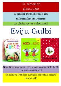 Ilūkstes pilsētas bērnu bibliotēka aicina uz tikšanos ar bērnu grāmatu autori Eviju Gulbi