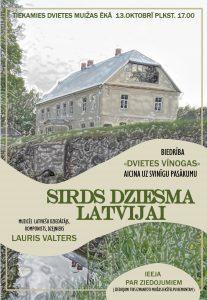 """13. oktobrī Dvietes muižā notiks labdarības pasākums """"Sirds dziesma Latvijai"""""""