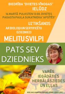Dvietē aicina uz tikšanos ar bioloģi un dziednieci Melitu Svilpi