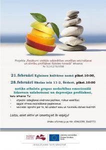 28. februārī Šēderē notiks atbalsta grupas nodarbības emocionālā līdzsvara uzlabošanai un depresijas profilaksei