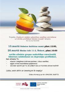 13. un 20. martā notiks atbalsta grupas nodarbības emocionālā līdzsvara uzlabošanai un depresijas profilaksei
