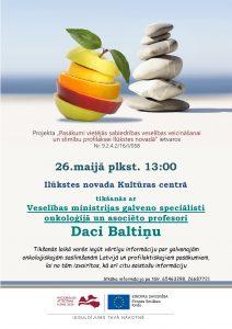 Tiek organizēta tikšanās ar Valsts galveno onkoloģi Daci Baltiņu