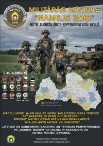 """No 23. līdz 26. augustam, sakarā ar militārajām mācībām """"Namejs 2018"""", iespējami īslaicīgi satiksmes apgrūtinājumi ceļa posmā Aknīste- Subate- Ilūkste"""