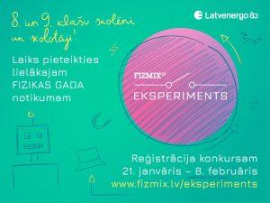 """Skolēni aicināti piedalīties konkursā """"FIZMIX Eksperiments"""""""