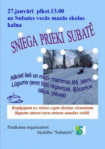 Ziemas priekus Subatē aicina baudīt īpašā pasākumā