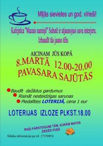 """Subates kafejnīca """"Mazais namiņš"""" aicina uz pasākumu 8. martā"""