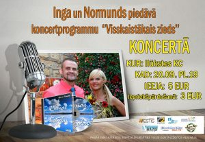 Ilūkstes Kultūras namā uzstāsies duets Inga un Normunds