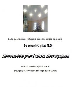 Lašu evanģēliski luteriskā draudze aicina uz Ziemassvētku dievkalpojumu