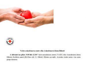 Valsts asinsdonoru centrs rīko Asinsdonoru dienu Ilūkstē