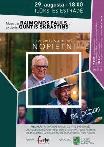 """Aicinām uz maestro Raimonda Paula un aktiera Gunta Skrastiņa koncertprogrammu """"Nopietni pa jociņam"""""""
