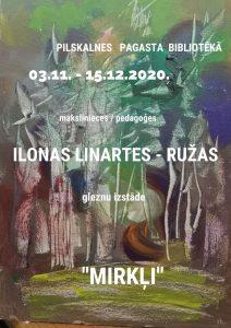 """Pilskalnes pagasta bibliotēkā skatāmi Ilonas Linartes-Ružas """"Mirkļi"""""""