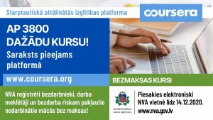 """Nodarbinātības valsts aģentūra organizē bezmaksas mācības attālinātās izglītības platformā """"Coursera"""""""