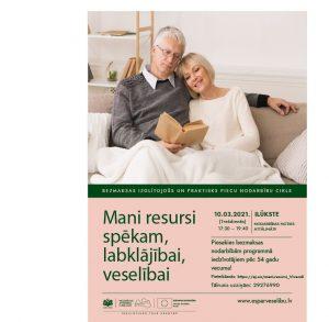 Bezmaksas apmācību programmu fiziskās un psihoemocionālās veselības stiprināšanai iedzīvotājiem vecumā no 54 gadiem