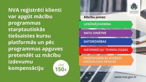 NVA piedāvā bezdarbniekiem un darba meklētājiem iespēju mācīties atvērto tiešsaistes kursu platformās un saņemt mācību izdevumu kompensāciju