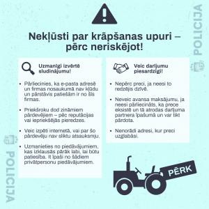 Nekļūsti par krāpšanas upuri – pērc neriskējot! Arī šogad krāpšanas gadījumi nav samazinājušies, kad lauksaimniekiem tiek piedāvāts iegādāties traktortehniku, ko viņi nav dzīvē redzējuši