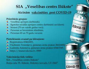 """SIA """"Veselības centrs Ilūkste"""" Aicinām vakcinēties pret COVID-19"""