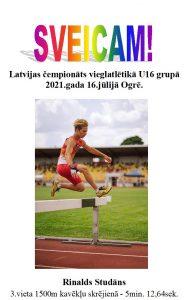 Rinaldam Studānam 3. vieta Latvijas čempionātā vieglatlētikā U16 grupā